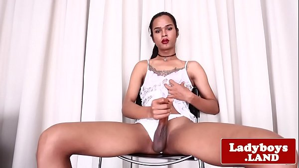 Shemale solo, Ladyboy solo, Spray, Shemale cum